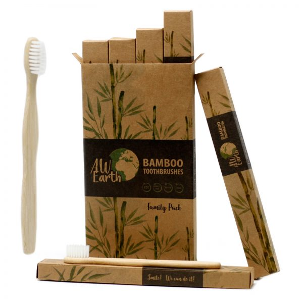 Family pack of four bamboo toothbrushes