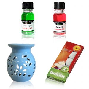 Oil Burner with candles and two fragrance oils