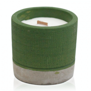Wooden Wick Candle Green Pot