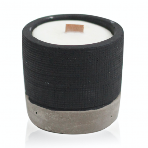 Wooden Wick Candle Pot Black